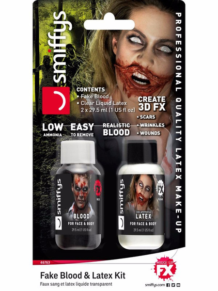 Set FX zombie :  latex + sangre 29.57ml