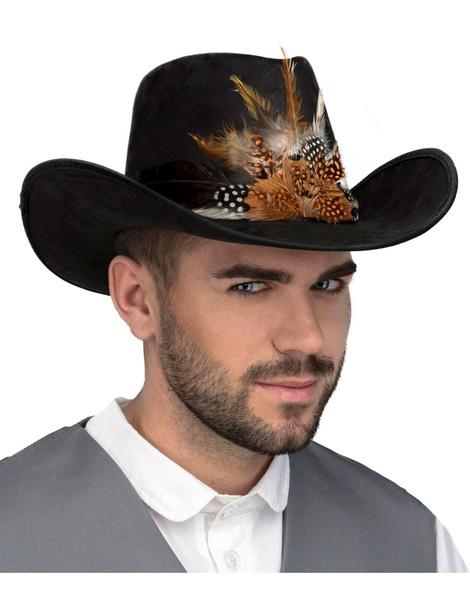 Sombrero Vaquero con plumas adulto lux 278368856fc