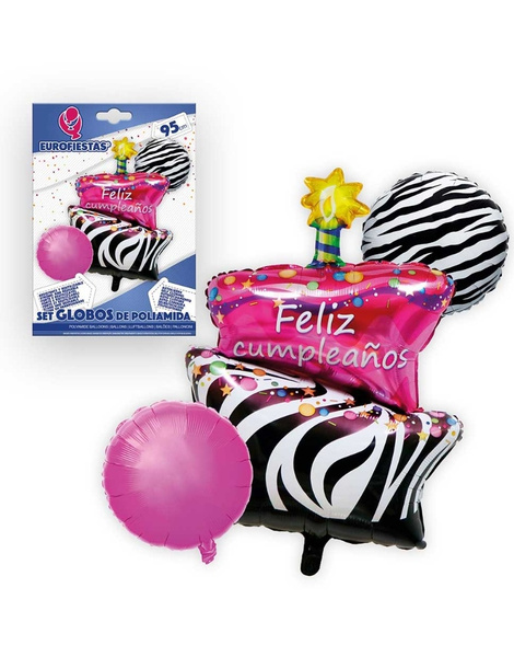 Set globos poliamida Tarta Happy Birthda
