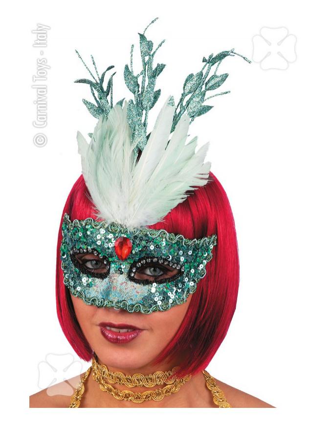 M scara in tessutto verde acqua - Articulos carnaval ...